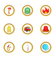 fireman icon set cartoon style vector image vector image