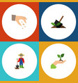 flat icon plant set of soil man sow and other vector image vector image