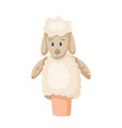 funny sheep or lamb puppet isolated on white vector image vector image