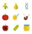 gmo laboratory icon set flat style vector image vector image