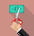 Hand cutting money bill vector image vector image