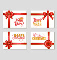 happy new year and merry christmas gift cards set vector image vector image