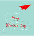 happy valentines day origami red paper plane dash vector image vector image