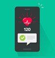 heart health check test on mobile phone app vector image
