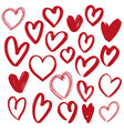 hearts collection hand drawn vector image vector image
