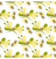 honey bee with linden blossom seamless pattern vector image