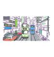 hong kong street tram watercolor vector image