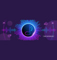 horizontal music banner bright purple futuristic vector image vector image