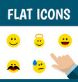 icon flat face set of cold sweat cheerful grin vector image vector image
