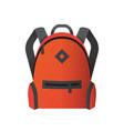 icon of bright orange school bag backpack icon vector image vector image