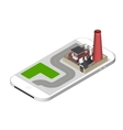 Isometric icon representing factory building with