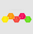 jigsaw puzzle hexagon info graphic 5 steps vector image