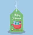 label of carriage santa claus with gift boxes vector image