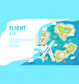 landing page design banner with airplane flying vector image vector image