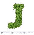 letter j symbol of green leaves vector image vector image