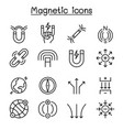 magnet icon set in thin line style vector image