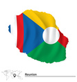 Map of Reunion with flag vector image vector image