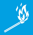 match flame icon white vector image vector image