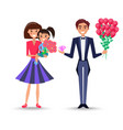 mother holds daughter and father with bouquet vector image vector image
