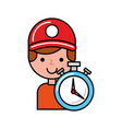 operator with stopwatch online shopping logistic vector image vector image