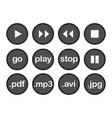 play button or flat black web icon set on white vector image vector image