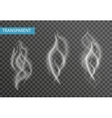 Realistic smoke set isolated on transparent vector image vector image