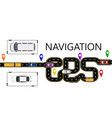 road cars navigator mark the highway is vector image vector image