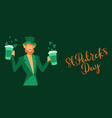 saint patricks day greeting card with leprechaun vector image