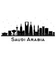 saudi arabia skyline black and white silhouette vector image