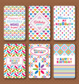 Set of bright happy birthday invitation cards vector image