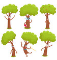 set of funny comic tree characters showing various vector image vector image