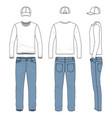 set of male tee jeans baseball cap vector image vector image