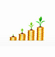 stacks increasing coins gold coins on white vector image