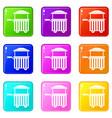 Street food cart icons 9 set