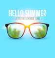 summer sunglasses with palm tree leaves in lenses vector image
