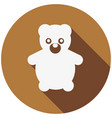 teddy bear flat icon with long shadow vector image vector image