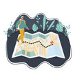 traveler man using map vector image vector image