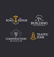 set of retro vintage construction traffic cone vector image