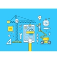 UI UX thin line mobile app development process vector image