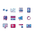Video blogging flat color icons vector image