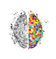 abstract human brain with colorful right part and vector image