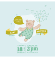 baby arrival card - bear with flower
