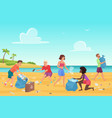 beach cleaning students people flat vector image