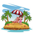 beautiful girl at beach vector image vector image