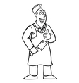Black and white butcher holding his thumbs up vector image vector image