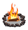 bonfire burning woodpile and round of stones vector image vector image