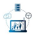 business laptop chart report cloud computing vector image vector image
