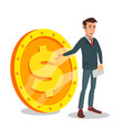businessman standing with big dollar sign vector image