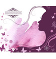 card template beautiful womans face with long vector image vector image