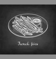 chalk sketch french fries vector image vector image